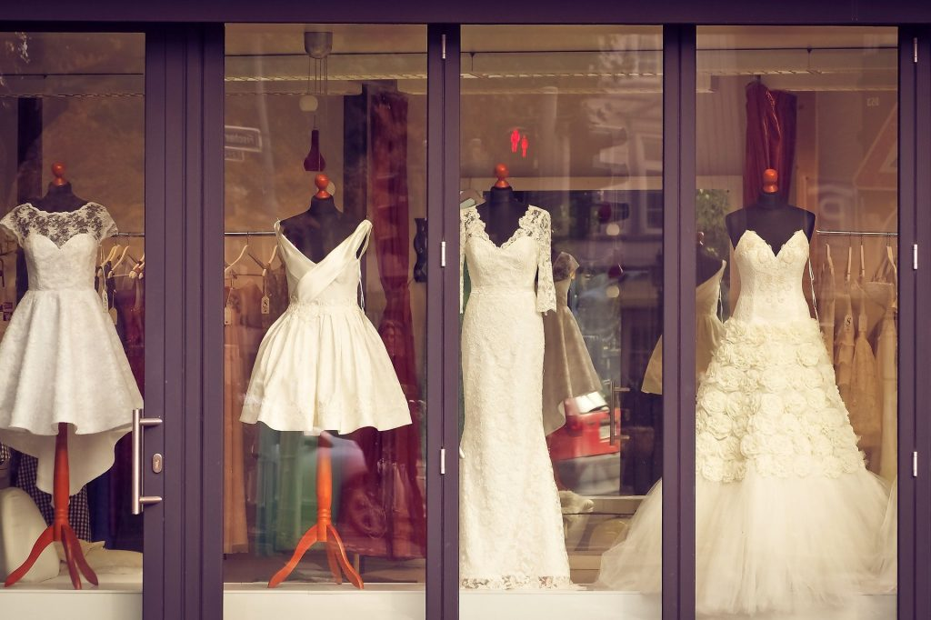 Retail window displays showing items for sale